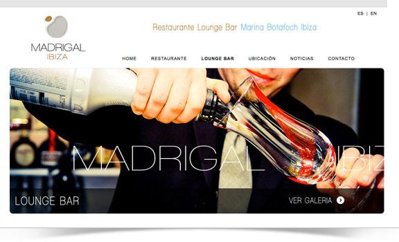 Disegno web Ristorante Madrigal Ibiza