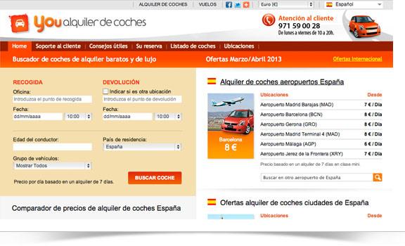 Diseño web You Alquiler de coches